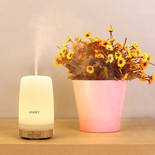 Aroma Diffuser compatible with AUKEY, 100 ML Essential Oil Humidifier with Two Color LED Light for £7.99