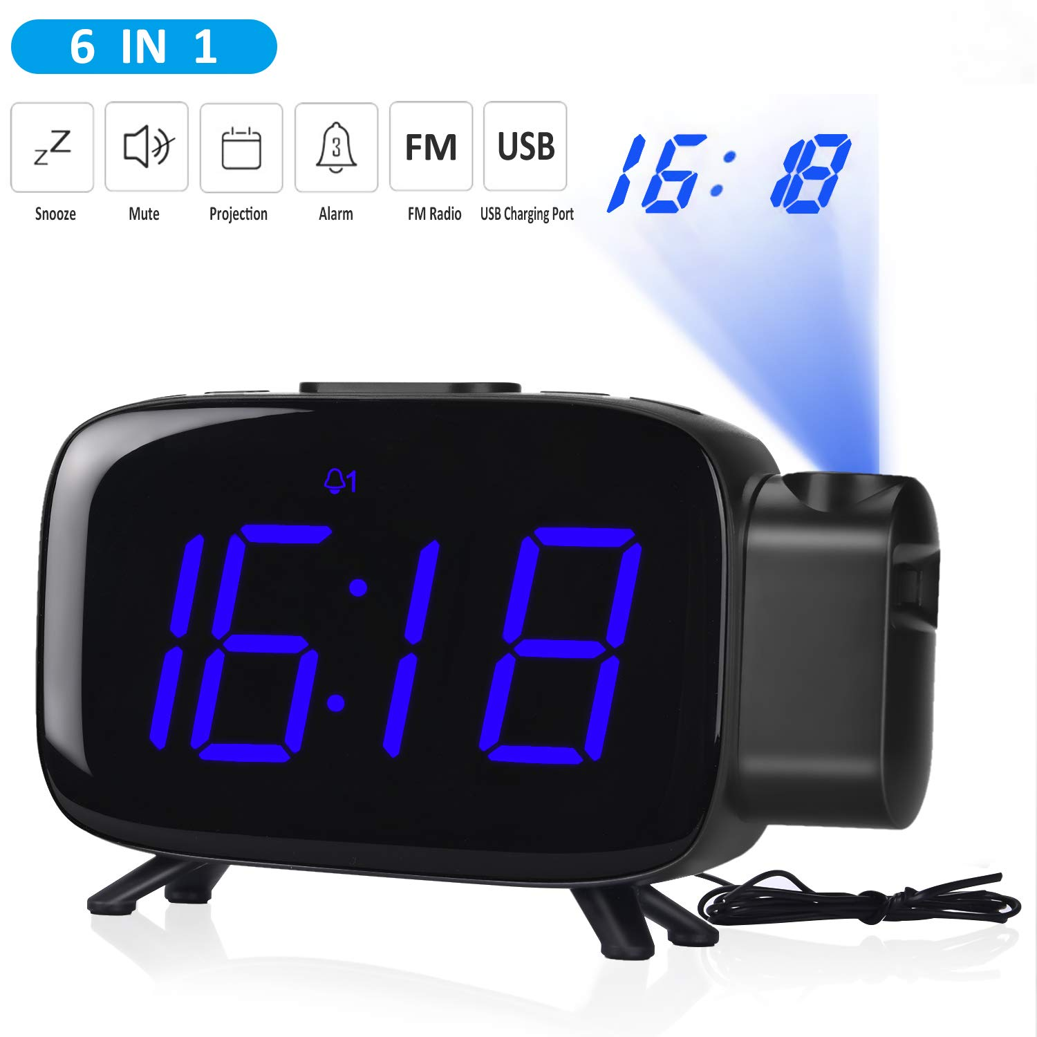 Projection Alarm Clock,Tinzzi Radio Alarm Clocks with Dual Alarms for £13.00