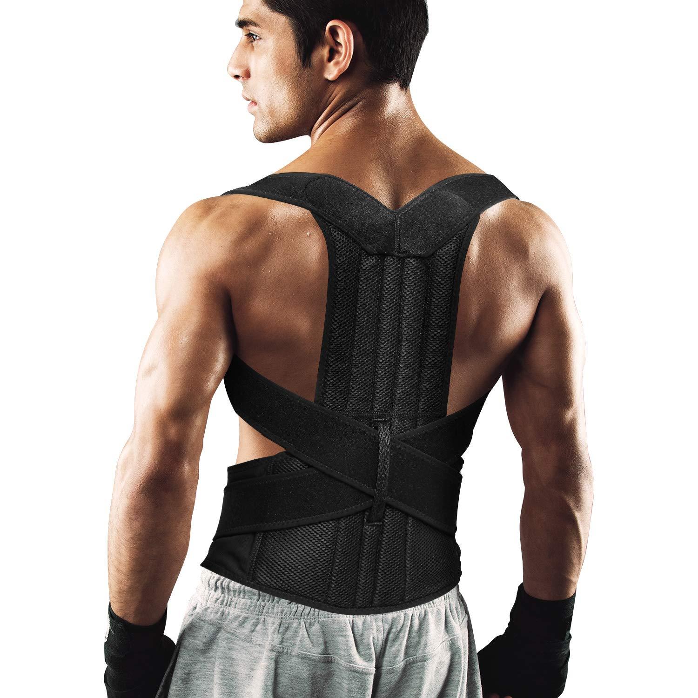 ENKEEO Posture Corrector, Breathable Pain Relief Lumbar Upper Back Brace Straightener