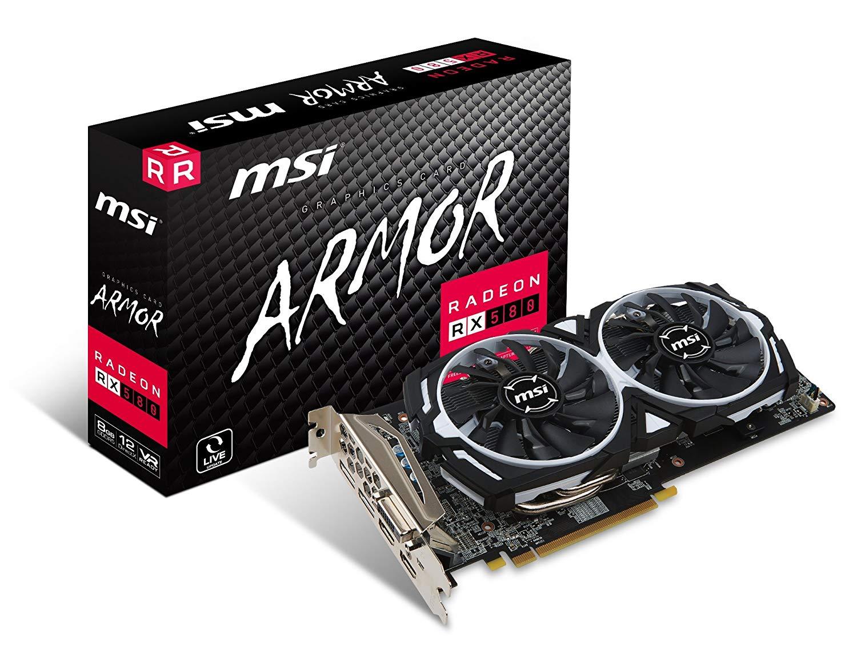MSI AMD RX 580 ARMOR 8G OC 8 GB GDDR5 256-Bit Memory Graphics Card