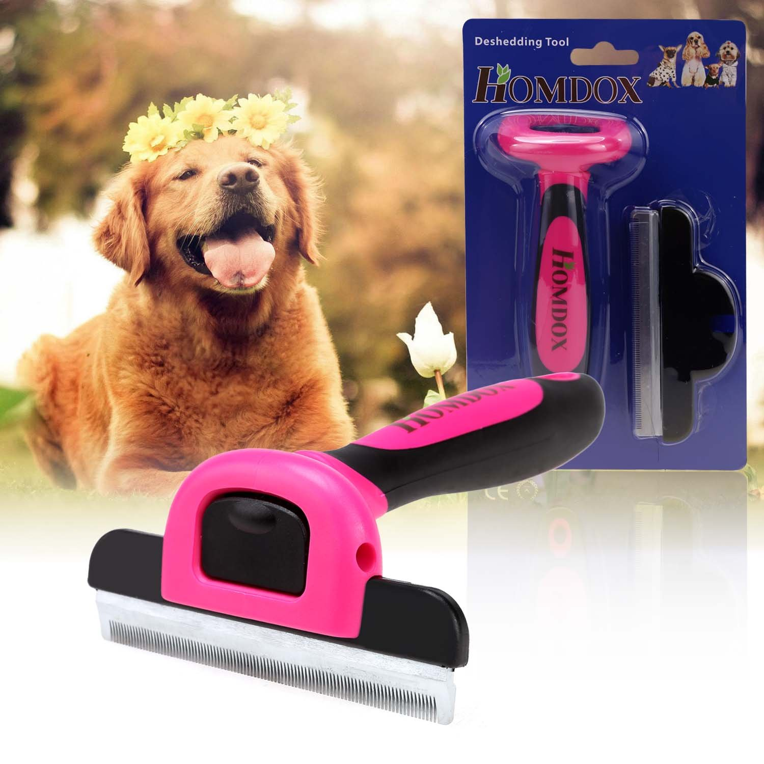 Dog Grooming Brush for Shedding Pet Grooming Tool Deshedding Tool For Small Medium Large Dogs and Cats