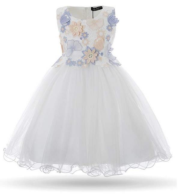 Flower Tulle Dress for Girls, size 10-11 years, color #1 White