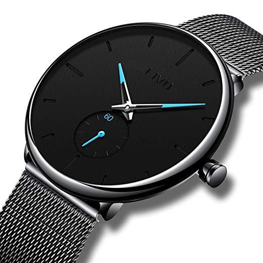 CIVO Mens Black Ultra Thin Watch Minimalist Fashion Wrist Watch