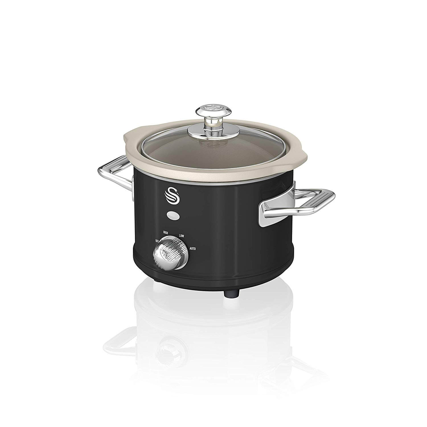 Swan SF17011BN 1.5l Retro Slow Cooker Removable Ceramic Pot + Recipe Book120w