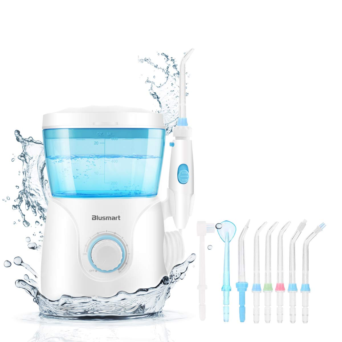 Blusmart Water Flosser for Teeth Countertop Dental Water Flossers 600ml Power Flossing Oral Irrigator 10 Pressure Settings for Family Use