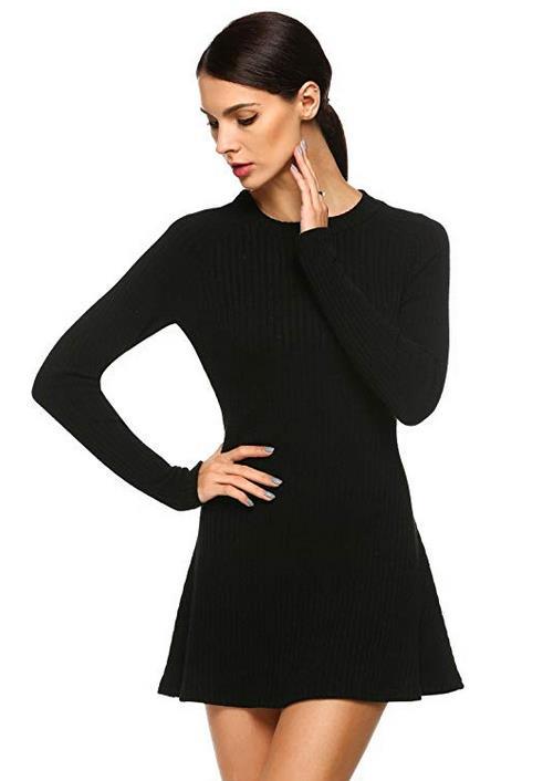 Jintes Women Fashion Casual Long Sleeve Slim Knit Sweater Mini Elastic Dress Dresses