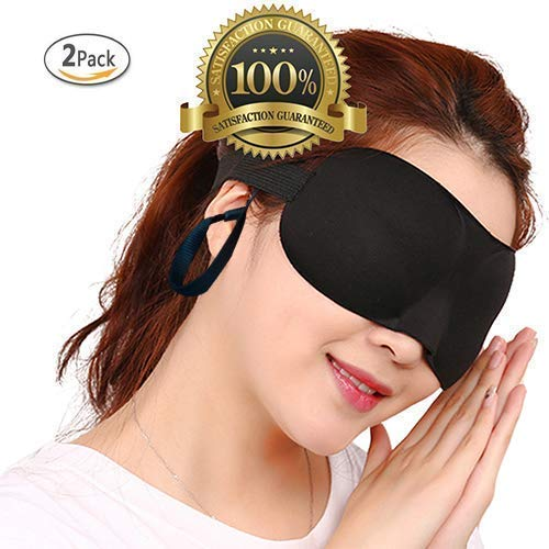 Drkao 2 Pack 3D Eye Mask with Ear Plugs Sleeping Mask Black Color Lightweight with Adjustable Strap