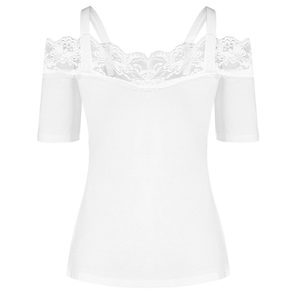 Women's Vest Top Lace Trim Tee Cold Shoulder T-Shirt