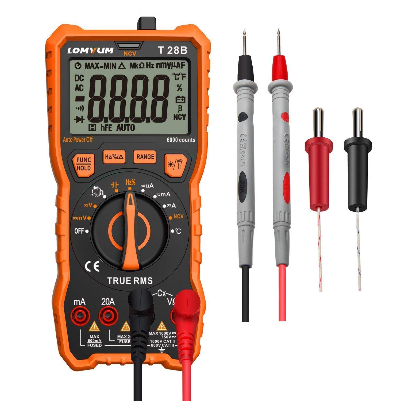 Digital Multimeter Tester, TRMS 6000 Counts Auto-Ranging Volt Meter; Measures Voltage Tester; Tests Diodes, Transistors