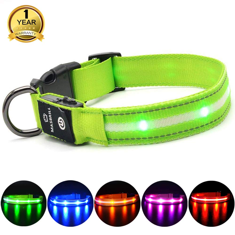 MASBRILL Light Up Dog Collar,LED Dog Safety Collar with USB Rechargeable for £13.95