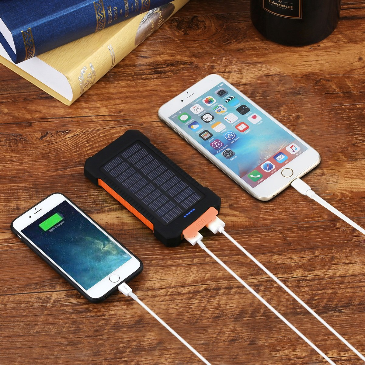 FLOUREON 10,000mAh Solar charger Power Bank Portable Phone Charger for £4.20
