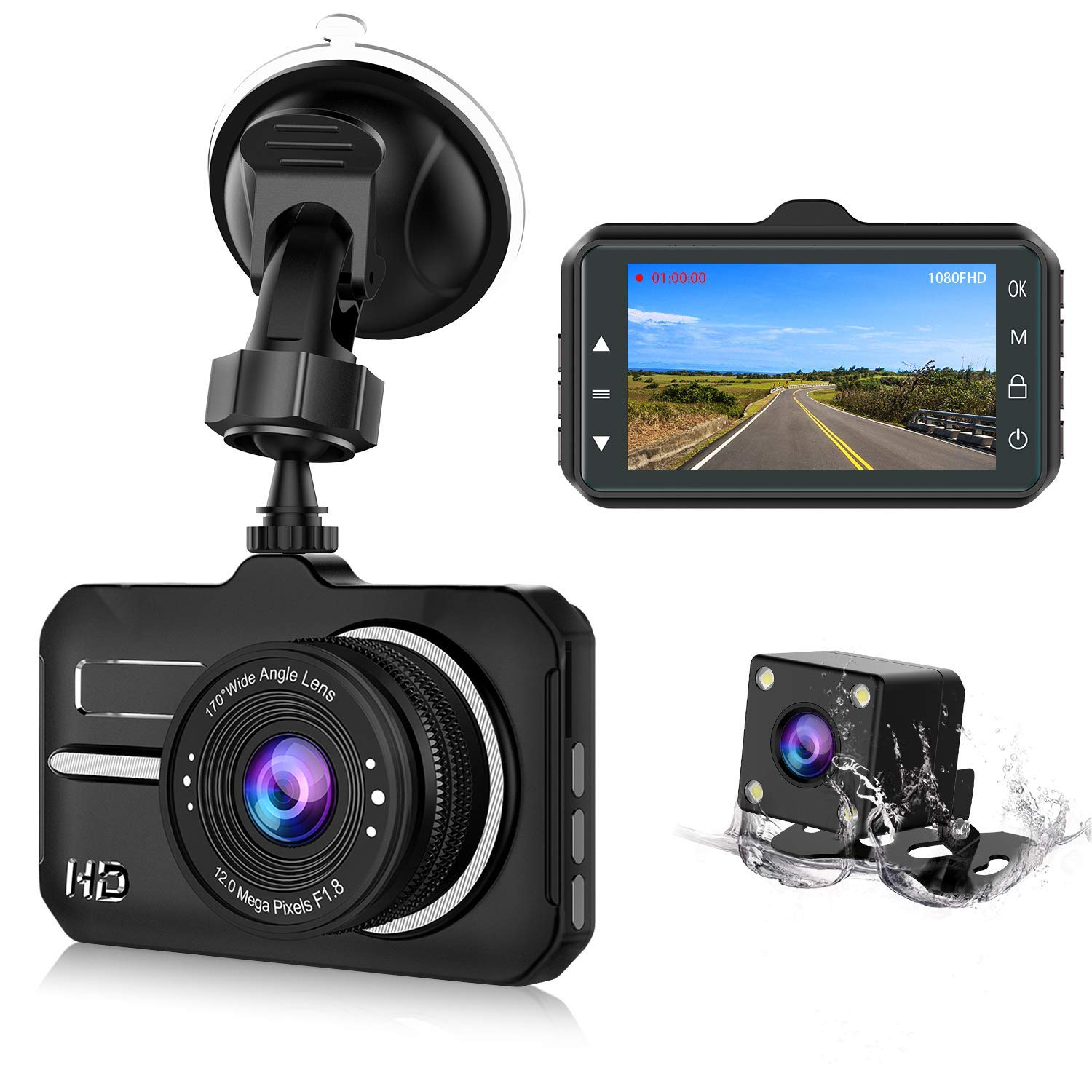 CHORTAU 【2019 New Version】 Dash Cam FHD 1080P 3 Inch 170° Wide Angle for £39.94