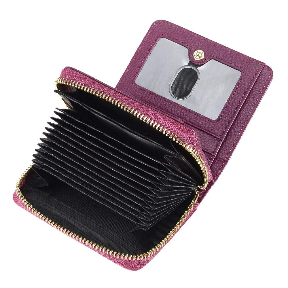 COCASES Ladies Purse RFID Blocking Genuine Leather Credit Card Wallet for Women in Purple