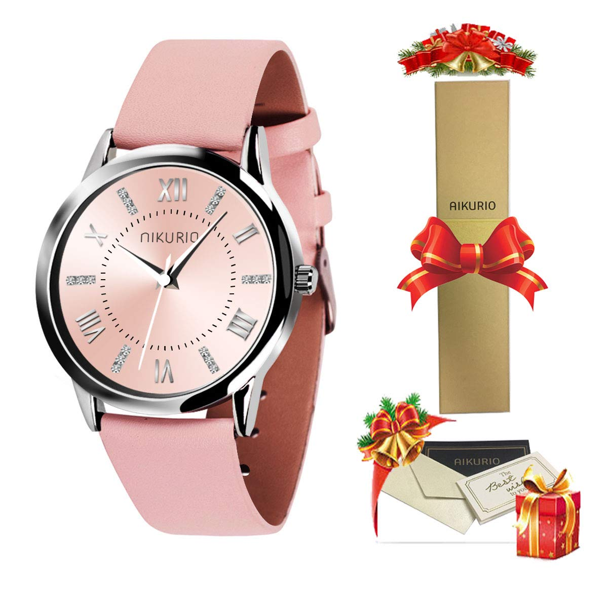 40% OFF AIKURIO Women's Wrist Watch with Leather Strap and Crystal Dial 30M Waterproof AKR001