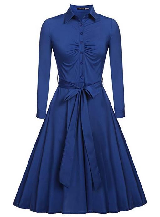 ACEVOG Women's 1950s Vintage Bow Belt Long Sleeve Casual Blouse Dress