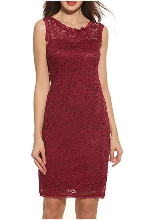 ACEVOG Women's Floral Lace Sleeveless Cocktail Evening Dress