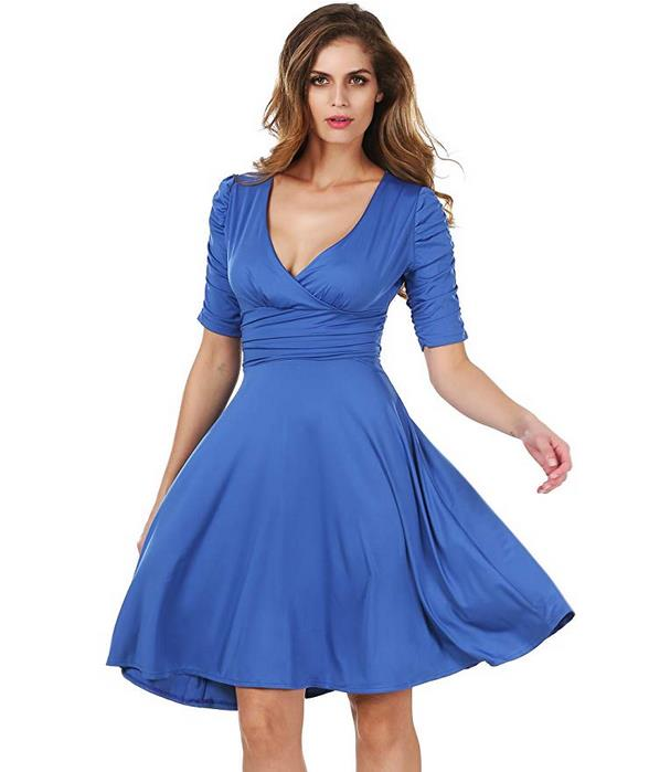 Meaneor Women's 3/4 Sleeve V-Neck Circle Jersey Dress Cocktail Dress