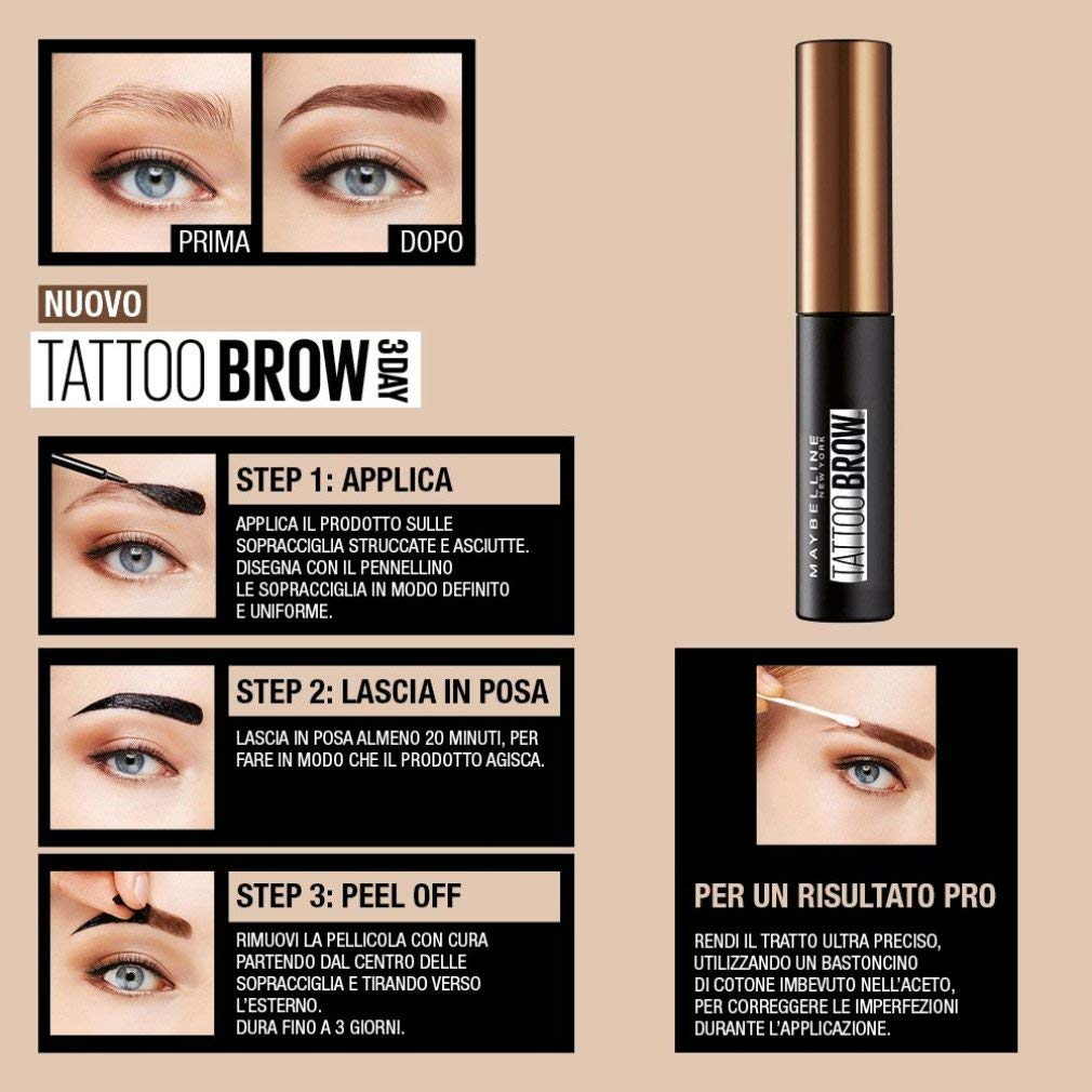 Maybelline Brow Tattoo Light Brown Longlasting Tint,4.9 ml