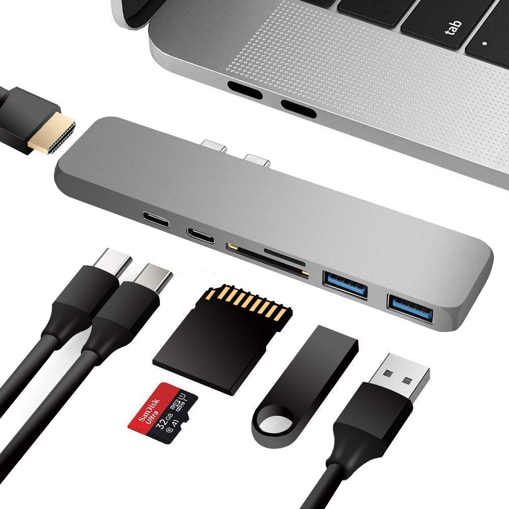 USB C Hub, JoyGeek 7 in 1 Dual Type-C Adapter