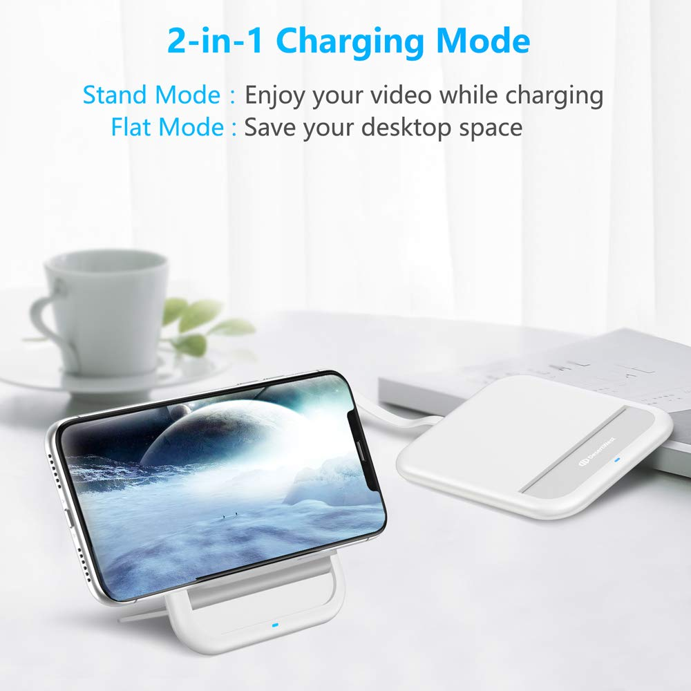 10W Qi-Certified Fast Wireless Charger Ultra-Slim Pad Stand for £4.80