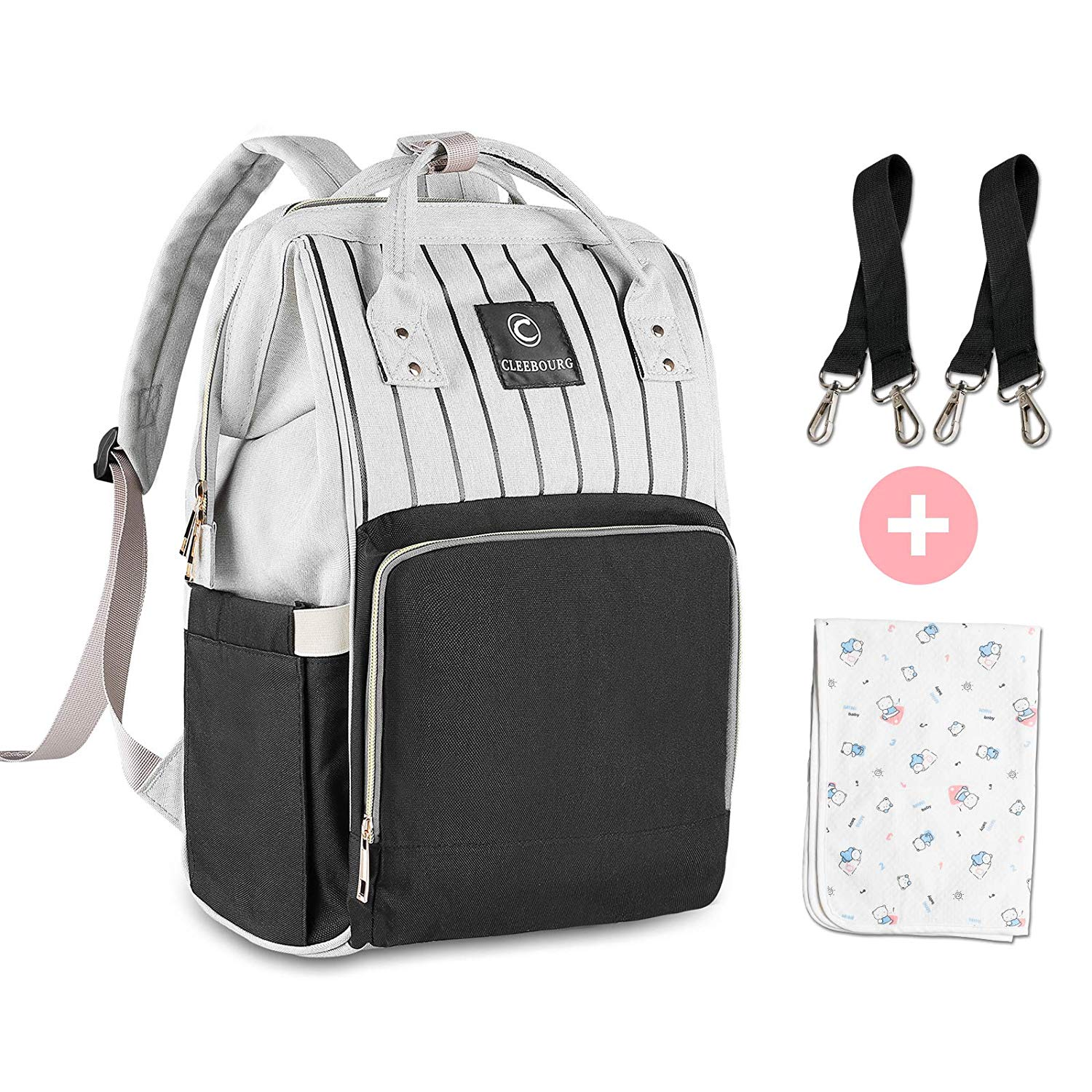 CLEEBOURG Nappy Bag Backpack, Diaper Bag Baby Changing Bag
