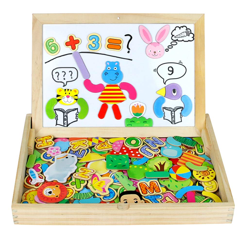 Nuheby Wooden Jigsaw Puzzles Magnetic Drawing Board Game