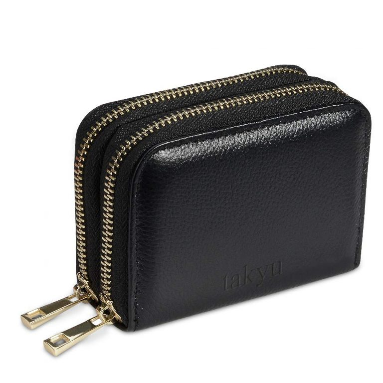 Ladies Wallet Premium Genuine Leather Credit Card RFID Blocking Accordion (Black)