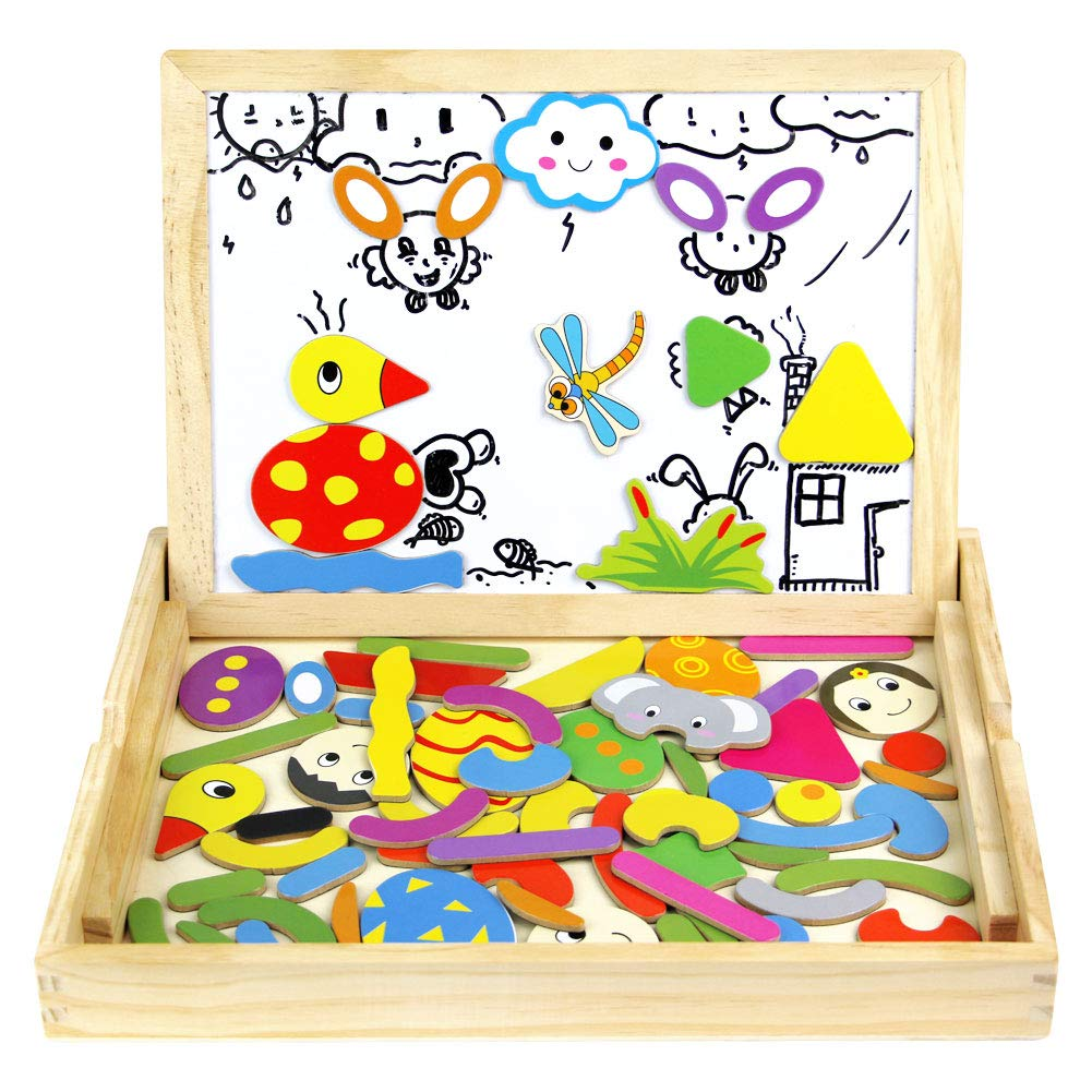 Wooden Drawing Board Game Magnetic Jigsaw Puzzles Children Chalkboard Easel Magnetic Learning Toy