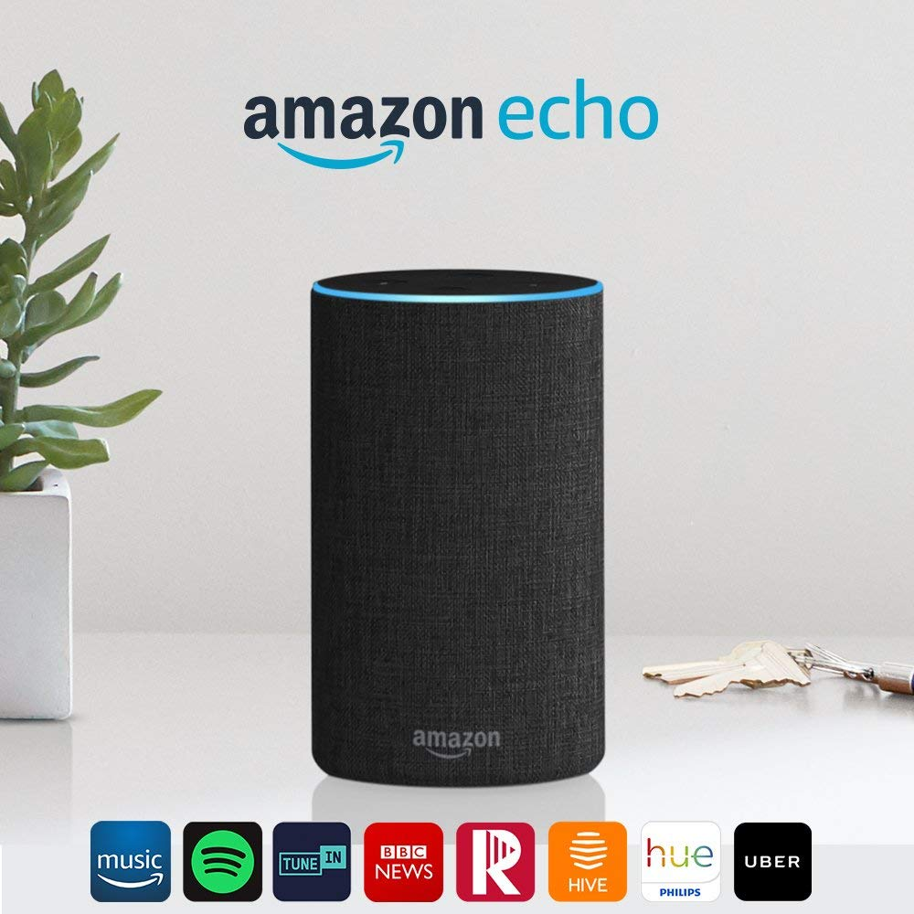 Amazon Echo (2nd Gen) – Smart speaker with Alexa – Charcoal Fabric