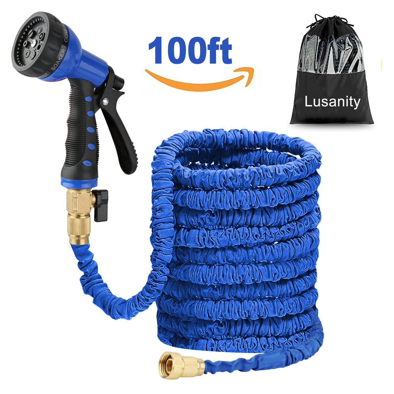 Lusanity Hose Pipe Blue 100FT Stronger Double Latex Inner Tube Garden Hose Solid Brass for £9.00
