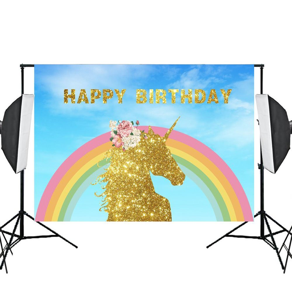 Aisnyho Birthday Themed Photography Backdrop Photo Background Vinyl Backdrops for Photography Studio Party Props 7x5ft unicorn