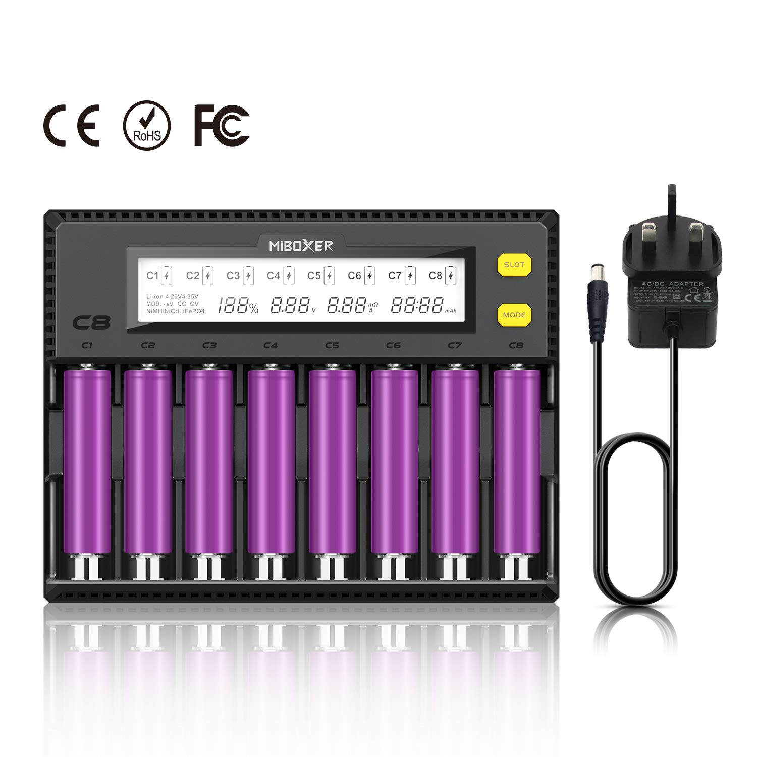 18650 Battery Charger 8 Slot UK Miboxer C8 8 bay Fast Charger for Rechargeable Batteries Lithium ion NiMH NiCd AA AAA AAAA C Cell 26650 21700 18490 RCR123 IMR
