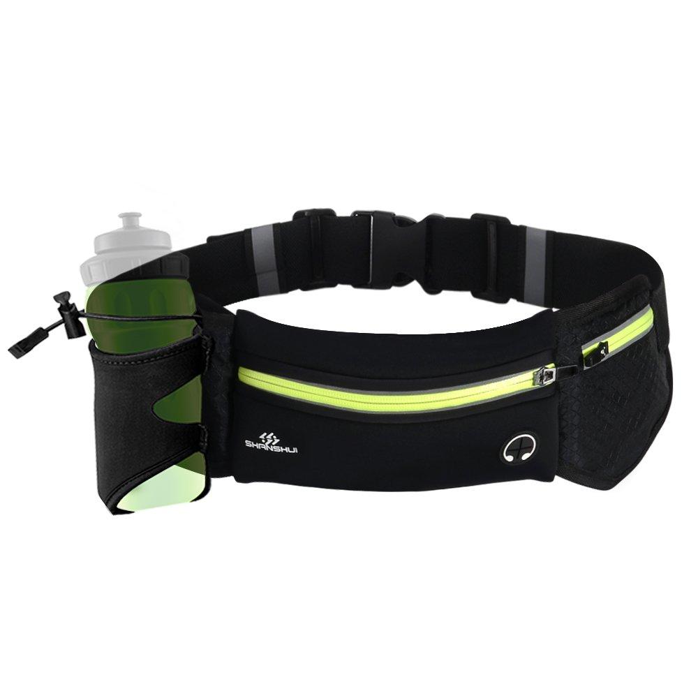 SHANSHUI Unisex Running Belt Waterproof Reflective Lightweight in Black