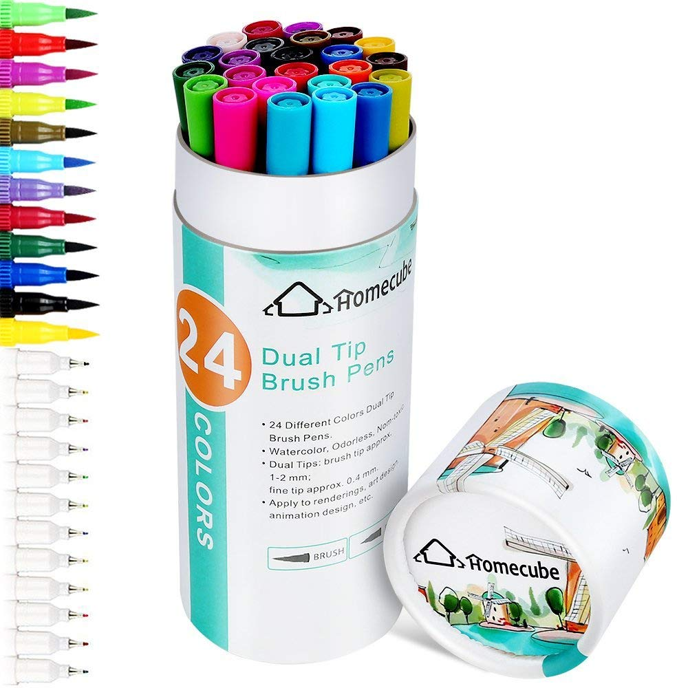 Homecube Dual Tip Art Marker, 24 Colours Brush Pens Sets Soft Flexible Brush Tip & Fineliner Tip – Create Watercolour Effect
