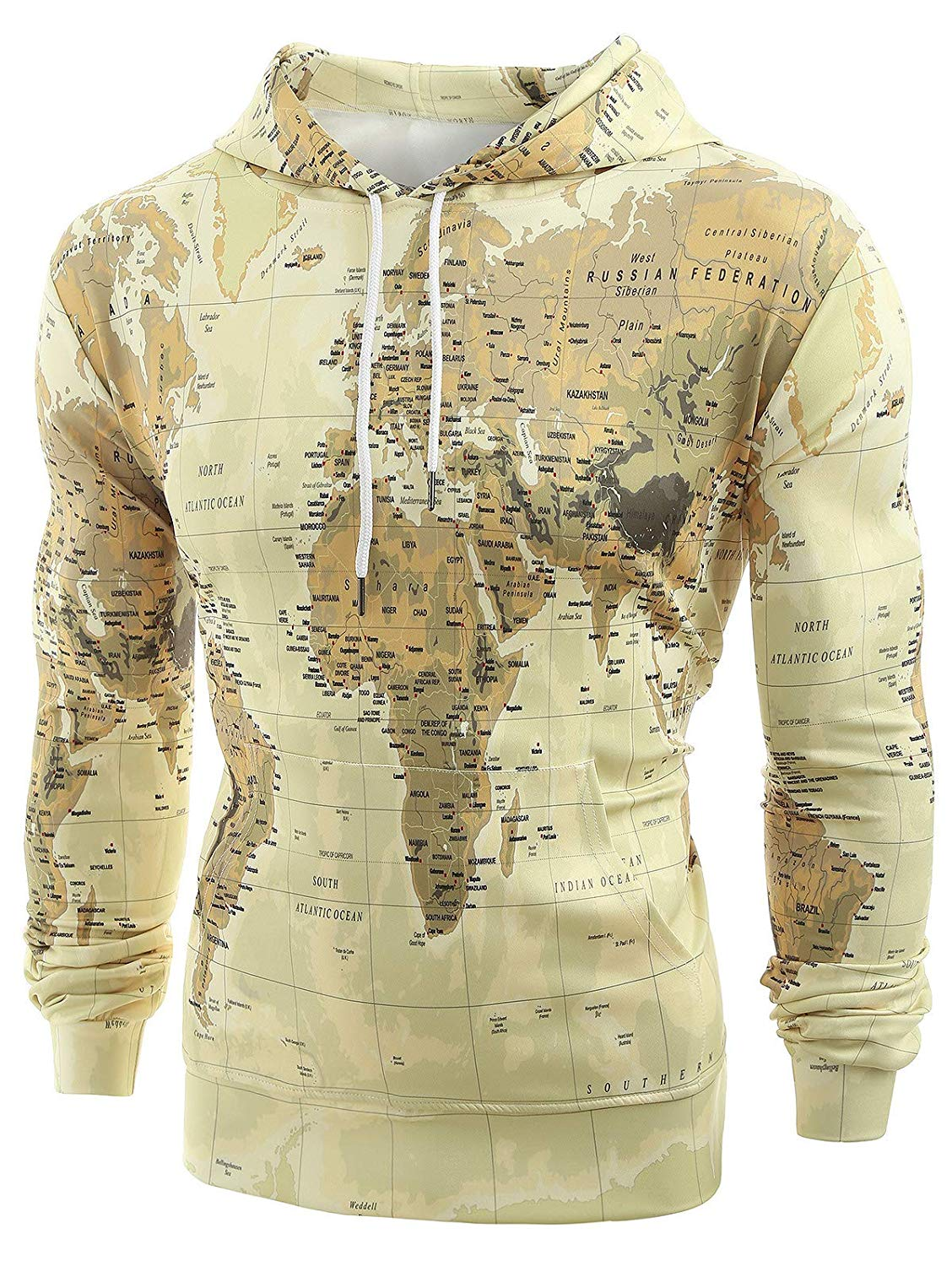 Men's 3D Print World Map Hoodie Pullover Long Sleeve Sweatshirt Outerwear