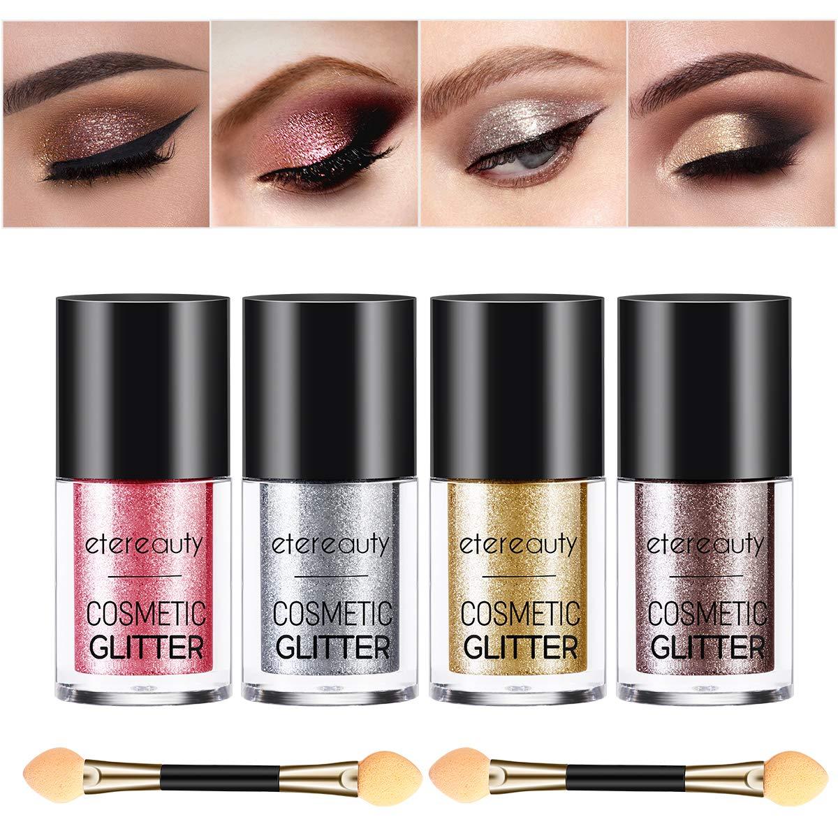 Glitter Eyeshadow, ETEREAUTY 4 Colors Glitter Powder Loose with Eyeshadow Brush