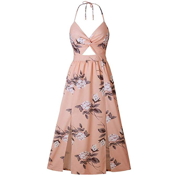 Women Casual Floral Halter Sleeveless Side Split Long Dresses