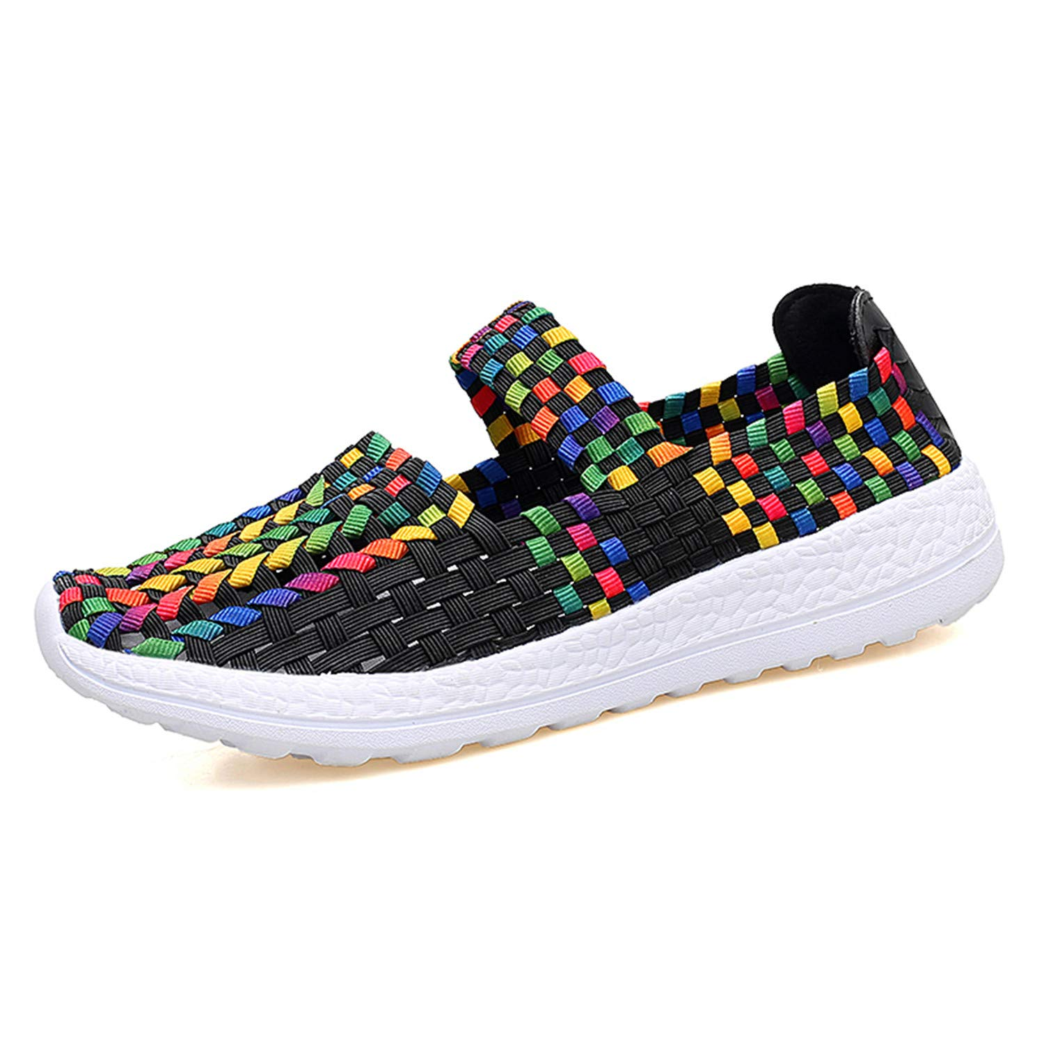 Women Woven Shoes Light Weight Slip On Sandals Walking Sports Loafer Flats Water Shoes