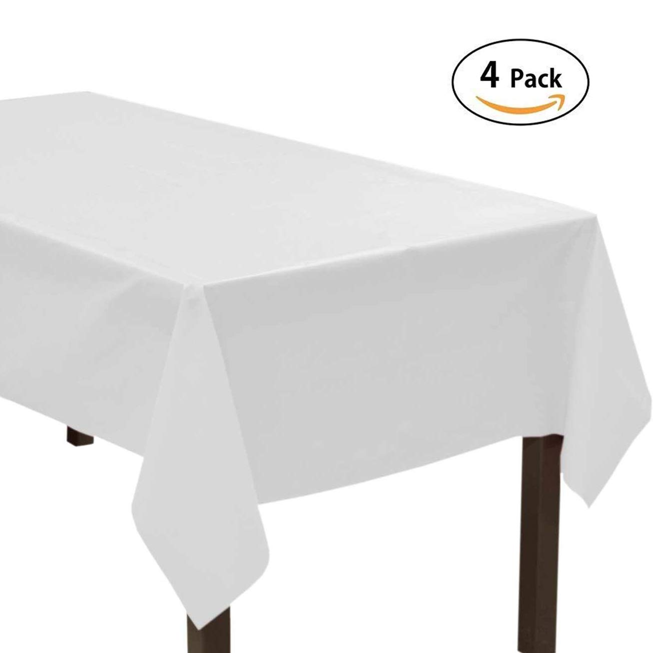 7PENNY 4 Pack Disposable Tablecloth 37cm*274cm Rectangle Plastic Party Table Cloth Covers For Party Easily