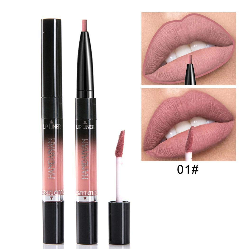 Iloits New Makeup Cosmetic Double-heads Long Lasting Waterproof Liquid Lip Gloss Lip Glosses