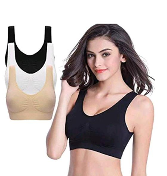 Dieron Women V-Neck Stretch Wire Free Pure Color Bra Yoga Sports Casual Crop Tops Sleepwear Sports Bras