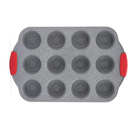ChaoJia 12 Cup Muffin Tray Megastone Collection Non-Stick with Red Silicone Handle Grips ,Carbon Steel 41.5 x26.5 x 3.2 cm Professional Bakeware High Quality Grey Marble