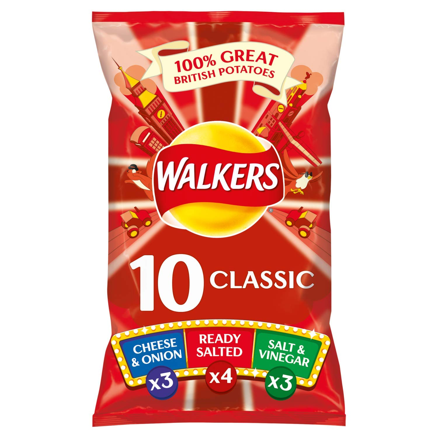Walkers Classic Variety Case Pack Crisps, 10 x 25 g (Case of 10)