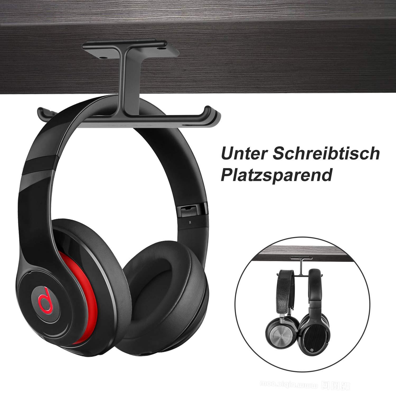 Headphone Stand New Bee Universal Aluminium Headphone Holder Punch Free Under Desk Dual Headsets Holder Mount