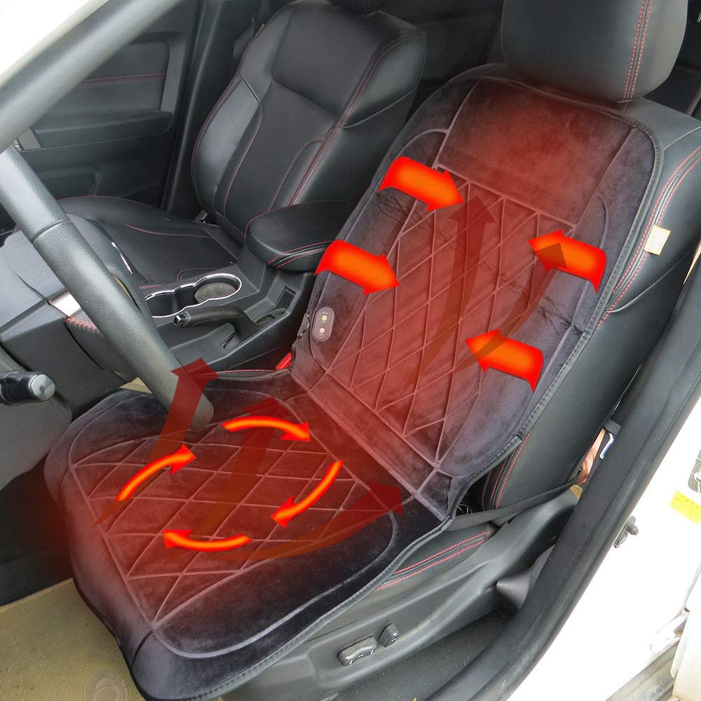 Universal Car Seat Heater 12 Volt Heated Car Seat Cover Heated Pad 24 Volt Truck Heating Seat Cushion Winter Warmer Blanket Long Cable For Left And Right Hand Drivers By TTBB-AUTOPARTS