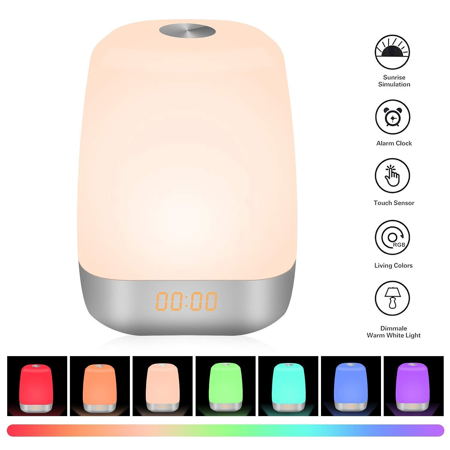 Wake Up Light Alarm Clock with Colored Sunrise Simulation LED Digital Alarm Clock Touch Control Dimmable Bedside Lamp