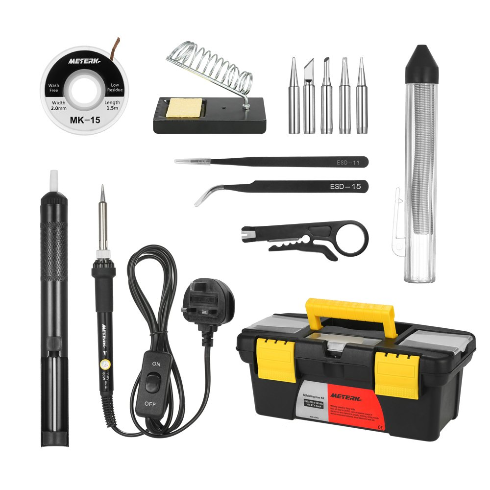 Soldering Iron Kit,Meterk 14PCS 60W Adjustable Temperature Soldering-Iron Gun Kit