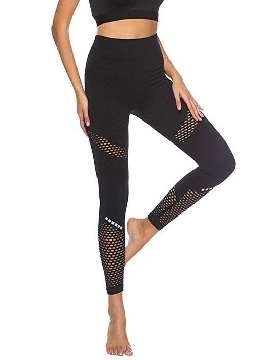 YUHX Women Seamless Leggings Fitness Push Up Mesh Spliced Yoga Sport Trousers Activewear