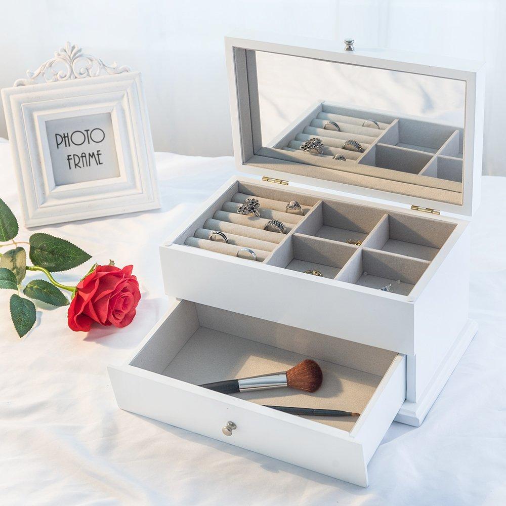 Decorative Wooden Jewellery Box Organizer Storage Case Holder with Glass, Women's Day Gift, White Finish