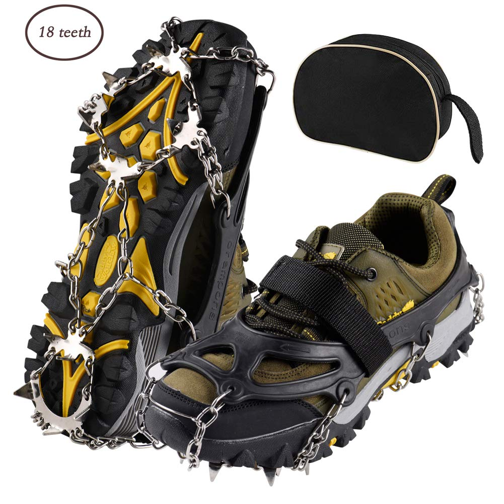 XREXS Universal 18 Teeth Stainless Steel Crampons Ice and Snow Cleats Grips Non-slip Shoes Cover with 18 Spikes and Adjustable Strap for Walking, Jogging, Climbing and Hiking Unisex